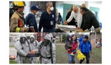 Collage of Emergency Response situations -- workers responding with community members