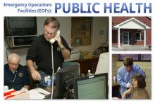 Emergency worker on the phone in a busy operations center