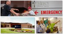 Collage of various hospital and emergency situation scenes