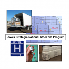 Collage of emergency preparedness themed images:  unloading medications from a truck, a hospital sign, county map, filling a syringe from a vaccine