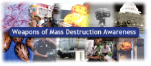 Collage of various WMD situations -- mushroom clouds, emergency personnel, HAZMAT tanker, gas masks, etc.