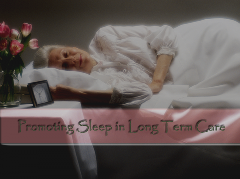 Elderly woman sleeping peacefully on her side in a bed
