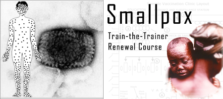 Collage of images including a microscopic view of smallpox, and a photo of a small child with smallpox
