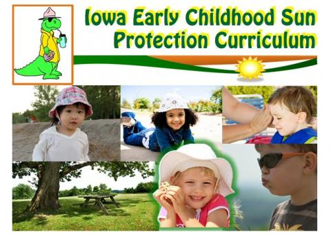 Collage of children outside wearing hats